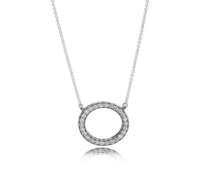 Hearts of Pandora Pendant Necklace, Clear CZ