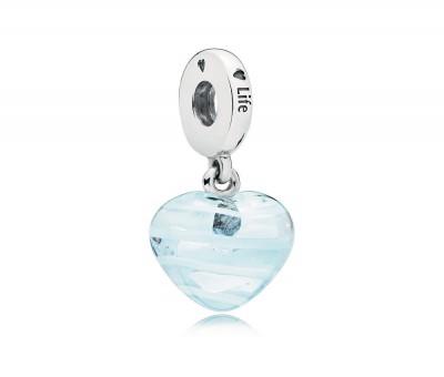 Blue Ribbon Heart Dangle Charm, Murano Glass