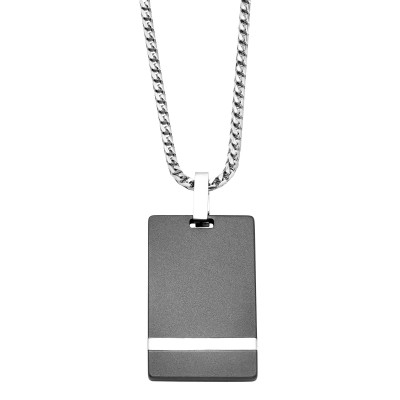 Triton Raw 3MM Raw Dogtag With Gold Inlay And Silver ChainTungsten Primary With Silver And 18Kw