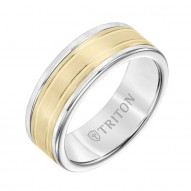 Triton  White Tungsten Carbide(Primary) Band With 14Ky Insert - Dbl Engraved - Sz 10