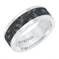 Tungsten Carbide 8MM Comfort Fit White With Black Center-Sz 10