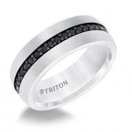 Wh Tungsten Carbide 8MM Black Sapphire Band - Sz 10