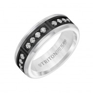 Triton Black Tungsten Carbide/Wh Dia Band With 12 Rd Dia