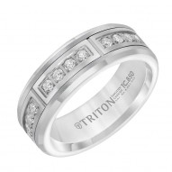 Triton White Tungsten Carbide 7MM Diamond Band With 12 Dia