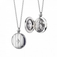 """Sterling Silver Monica Rich Kosann Round 1"""" beaded locket with center diamond on a 26"""" chain."""
