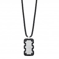 Stainless Steel Dogtag Charm With Honeycomb Design With 1 Dia