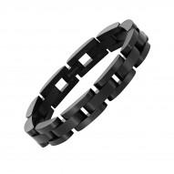 "Stainless Steel 8.5""Linked Bracelet - Black"