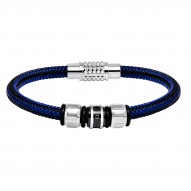 """Stainless Steel 8.5"""" Blue Corded/Bead Brac With 1 Dia=0.02 Ct"""