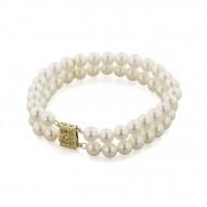 "14K 6+MM White Freshwater Cultured Pearl 7"" 2 Row Bracelet"