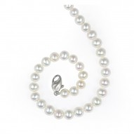 """Sterling Silver 7-8MM White ASP Freshwater Cultured Pearl 18"""" Necklace"""