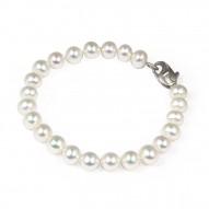 "Sterling Silver 7-8MM White ASP Freshwater Cultured Pearl 7"" Bracelet"
