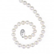 "Sterling Silver 8-9MM White ASP Freshwater Cultured Pearl 18"" Necklace"