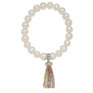 Bronze 8-9mm White Ringed Freshwater Cultured Pearl with Tri Tone Tassle Stretch Bracelet
