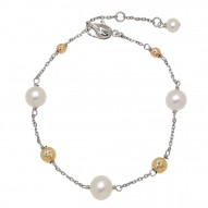 "14KY Sterling Silver 5-9mm Freshwater Cultured Pearl with 4-6mm Gold Beads 7.5"" Bracelet"
