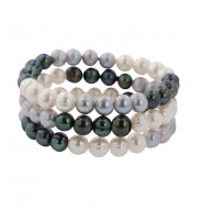 Set of Three 8-9MM Black, White and Gray Ringed Freshwater Cultured Pearl Stretch Bracelets