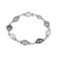 "Sterling Silver 9-10MM Black White Gray Baroque Freshwater Cultured Pearl 7.5"" Bracelet"