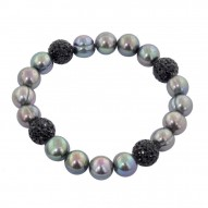 """Sterling Silver 9-10mm Black Round Ringed Freshwater Cultured Pearl and 10mm Pave Crystal Bead 7.25""""-7.5"""" Stretch Bracelet"""