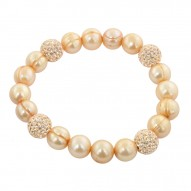 """Sterling Silver 9-10mm Champagne Round Ringed Freshwater Cultured Pearl and 10mm Pave Crystal Bead 7.25""""-7.5"""" Stretch Bracelet"""