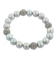 """Sterling Silver 9-10mm Gray Round Ringed Freshwater Cultured Pearl and 10mm Pave Crystal Bead 7.25""""-7.5"""" Stretch Bracelet"""