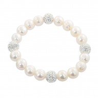 "Sterling Silver 9-10mm White Round Ringed Freshwater Cultured Pearl and 10mm Pave Crystal Bead 7.25""-7.5"" Stretch Bracelet"