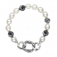 """Sterling Silver 8.5-9MM Wht Oval FWCP and Hematite Stingray Bracelet 7.5"""""""