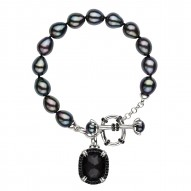"""Sterling Silver Crystal and Hematite Doublet with Black Spinel and Black Oval and Button FWCP Toggle Bracelet, 7.5"""""""