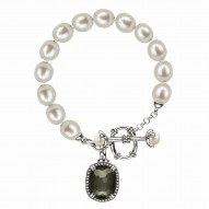 """Sterling Silver Pyrite Doublet, Wht Topaz, Oval and Button FWCP Brac 7.5"""""""