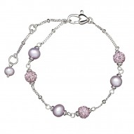 """Sterling Silver Lilac 4.5-5.5MM Potato FWCP and Crystal Tin Cup Brac. 6"""" with 1.5"""" Extender"""