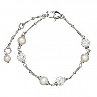 """Sterling Silver White 4.5-5.5MM Potato and Crystal Tin Cup Brac 6"""" with 1.5"""" Extender"""
