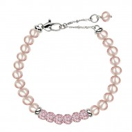 "Sterling Silver Pink 5+MM Potato FWCP and Crystal 6"" Brac. with 1.5"" Extender"