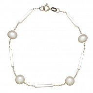 """14kyg 7-8mm Round Freshwater Cultured Pearl and Bar 7.5"""" Bracelet"""