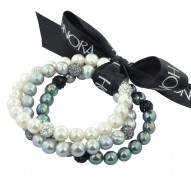 """Set of Three Sterling Silver 8-9mm Black, White, Gray Round Ringed Freshwater Cultured Pearl and 8mm Pave Crystal Bead 7.25""""-7.5"""" Stretch Bracelet"""