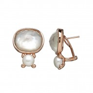 Bronze 7-7.5MM Button Freshwater Cultured Pearl White Mother of Pearl Doublet Earrings