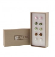 Set of 5 Sterling Silver 8-9MM Pink, Black, Pistachio, Chocolate and White Freshwater Cultured Pearl Stud Earring Box Set