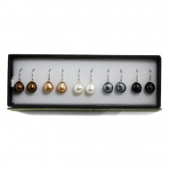 Sterling Silver Set of Five 9-10mm Chocolate, Mocha, White, Black, Jet Baroque Freshwater Cultured Pearl Dangle Earrings
