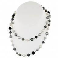 Sterling Silver 7-10mm Round Ringed Black, White, and Grey Fresh Water Cultured Pearl and Pave Crystal Bead Necklace, 36""