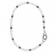 Sterling Silver 8.5-9MM Wht Oval FWCP and HEmatite