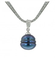"""Sterling Silver 13-14 Black Ringed Freshwater Cultured Pearl 18"""" Pendant"""