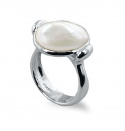 Sterling Silver 15-16mm White Baroque Coin Freshwater Cultured Pearl Ring