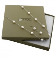 """Sterling Silver 7.5-8MM Oval White Freshwater Cultured Pearl 18"""" Necklace and Dangle Earring Box Set"""