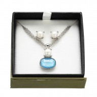 Box Set of Sterling Silver 7-7.5mm Button Freshwater Cultured Pearl Turquoise Doublet Pendant and Studs