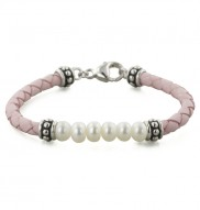 """Sterling Silver 5.5-6MM White Freshwater Cultured Pearl and Pink Leather 6"""" Children"""
