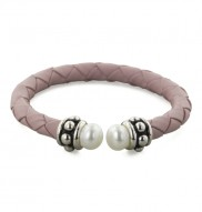 """Sterling Silver 7-7.5MM White Freshwater Cultured Pearl and Pink Leather 6"""" Children"""
