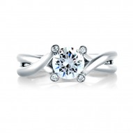 14K White Gold 0.03Ctw Semi Mount With 1.00Ct Round Head.