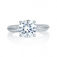 14K White Gold 0.26Ctw Semi Mount With 0.75Ct Head.