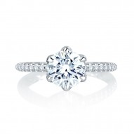 14K White Gold 0.33Ctw Semi Mount With 1.50Ct Head.