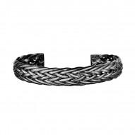Silver with Black Rhodium Finish 65x51x11.8mm Shiny Double Row Braided Cuff Bangle