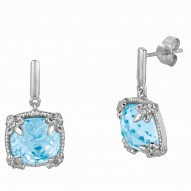 """Sterling Silver Sky Blue Topaz White Sapphire Drop Earring. Phi Llip Gavriel Next Generation Of """"Rock Candy"""" Collection."""