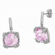 """Sterling Silver Pink Amethyst White Sapphire Drop Earring. Phil Lip Gavriel Next Generation Of """"Rock Candy"""" Collection."""