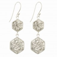 """Sterling Silver Rose Finish Shiny Octagon 2 Drop Earring with 2 Smokey-Checker S Tone """" Collection"""""""
